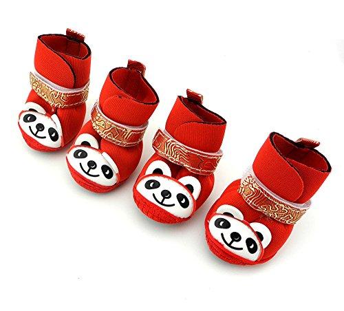 smalllee _ Lucky _ store klein Hund Schuhe Panda Muster Stiefel Haustier Beute Paw (Link Muster Baby Kostüm)