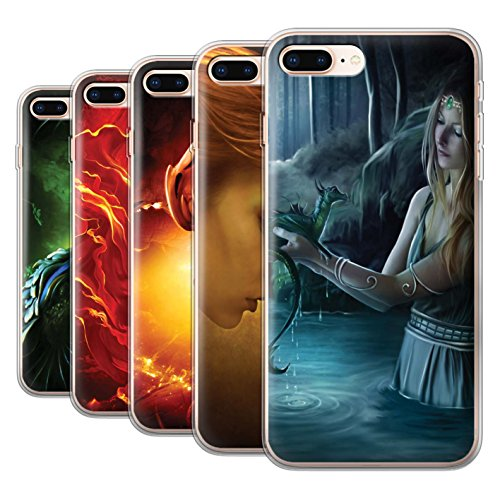 Officiel Elena Dudina Coque / Etui Gel TPU pour Apple iPhone 8 Plus / Cameleon Design / Dragon Reptile Collection Pack 5pcs
