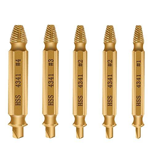 [5 Stück] E2BUY® Schraubenentferner, beschädigter Schraubenziehersatz, Schraubenentferner, Schraubenentgrater, hergestellt von H.S.S. 4341 #, Härte: 62-63HRC (Golden)
