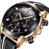 Uhren Männer Multifunktions Chronograph Sport Mode Luxus Wasserdicht Datum Design Schlank Analog Quarzuhr Business Casual Black Band Echtes Leder Rose Gold
