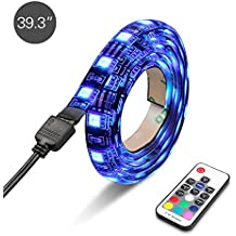 Topist LED TV Backlight,Multi Color USB LED Strip TV Back Lighting Bias lighting Kit Mood Light with Remote Control for Monitor,TV,Desktop,PC-100 CM
