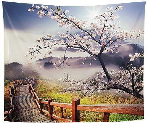 GARDOVA Gardowa Wandteppich - Natur - Kirschblüten - Nebelmorgen mit Blumen Holzgang - Wanddecke Wanddeko - Frühling - Schlafzimmer Kollektion Von Cherry
