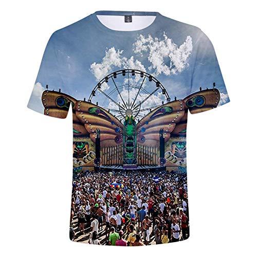 CCTXUE Magliette T-Shirts Stampa 3D Uomo Donna Neutro Tops Poliestere/Cotone Rapida Asciugatura Rapida Ventilazione Soft Casual Maniche Corte Girocollo Tomorrowland XXXL