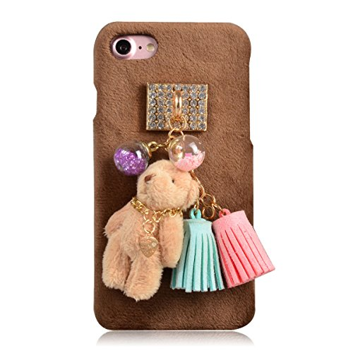 Coque iPhone 6s Plus, Coque iPhone 6 Plus, Lifetrut [Absorption des chocs] Cute Cartoon Lapin blanc Fluffy Pink Peluche Snap Hard Case Retour Housse Furry pour iPhone 6s Plus /6 Plus [Lapin blanc] E203-Mini ours