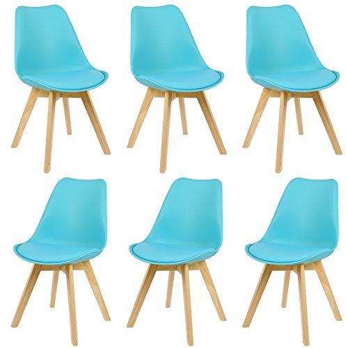 EUGAD 6er Set Esszimmerstühle Esszimmerstuhl Polsterstuhl mit Massivholz Beine, BH29gr-6, Grau