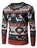 YCHENG Herren 3D-Druck Muster Weihnachten Design Rot Langarm T-Shirt XL Rot 1