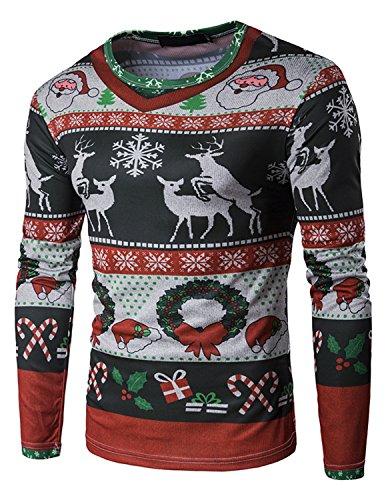 YCHENG Herren 3D-Druck Muster Weihnachten Design Rot Langarm T-Shirt XXL Rot 1