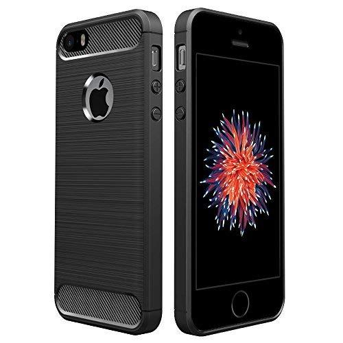 Simpeak Ersatz für iPhone SE Hülle Schwarz, Premium Weiche Karbonfaser Elastisch Schützendes Rückseiten-Case Ersatz für iPhone SE 5S 5[Fallschutz] [rutschfest] [Kratzfest] (I Phone 5 Lautsprecher Ersatz)