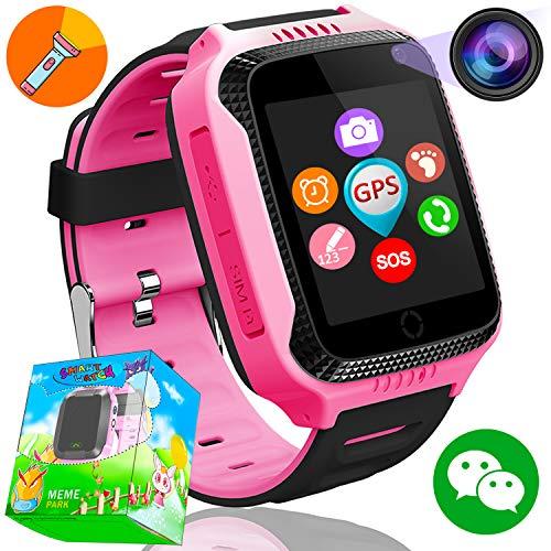 GPS Tracker Smartwatch Inteligente Relojes para Niños Niñas con cámara de Podómetro con Pantalla Táctil Llamadas SIM Anti-perdida SOS Regalos de Cumpleaños (Rosa 1)