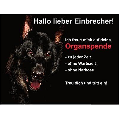 Hundeschild Schäferhund Warnschild Warnung Lustig Achtung 20x15 cm Schwarz Schild Hund Aluminium Spruch Garten Haustür