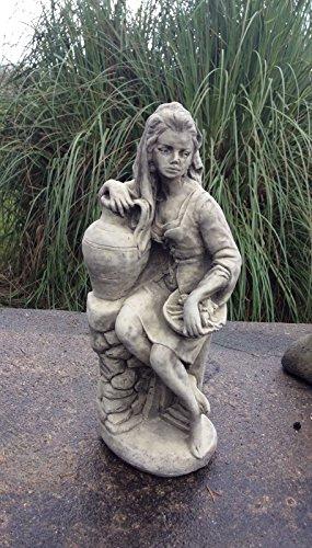 Stein Statue Frau mit Urne Garten stehend bei 47cm