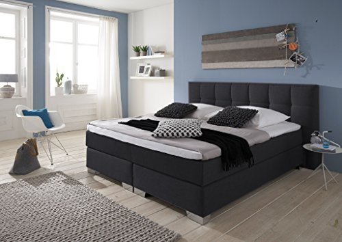 Designer Boxspringbett Home, Made in Germany, Tonnentaschenfederkern in der Box UND in der 7-Zonen Matratze, Visco Topper, Luxusbett, Hotelbett, Doppelbett Anthrazit, H2/H3, 180x200cm