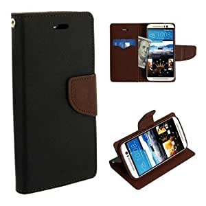 Majesty Wallet Style Flip Cover for HTC Desire 628 Dual Sim - Black Brown