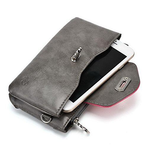 Kroo Lien de série universel femmes portefeuille Wristlet sac à bandoulière Compatible avec de nombreux 4à 12,7cm Étui pour Archos/Blackberry/Blu/Google/HTC Téléphone portable Multicolore - Noir/gri Multicolore - Grey Hot Pink