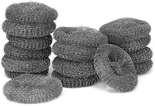 com-four pasticca economica in 16 pezzi in filo metallico, pagliette per la pulizia di forni e piani di cottura (16 pezzi di detergente per metalli)