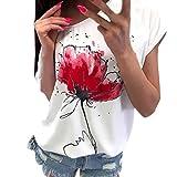 VJGOAL Damen T-Shirt, Damen Mode Kurzarm V-Ausschnitt Spitze Gedruckte Spitze Tops Sommer Lose T-Shirt Bluse (2XL/46, X-Drucke-Weiß)