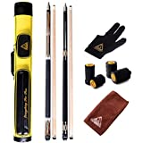 CUESOUL Combo Set Of House Bar Pool Cue Sticks - 2 Cue Sticks Packed In 2x2 Hard Pool Cue Case E101