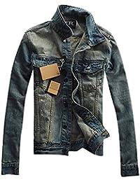 Denim Jacket para Hombre de Manga Larga Outwears Slim Fit Vintage Chaquetas Vaqueras