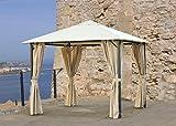 Grasekamp Pavillon Nizza 3x3m mit Seitenwand-Set, sand