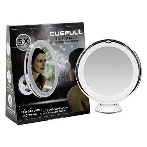 Cusfull ingrandimento specchio girevole, con luce LED calda e base