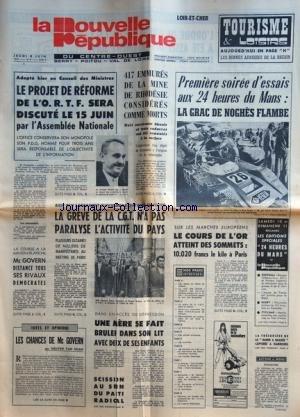 NOUVELLE REPUBLIQUE (LA) du 08/06/1972 - LE PROJET...
