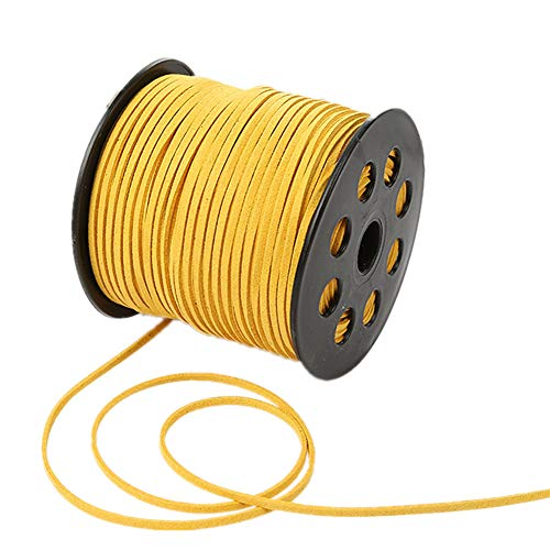 Cordón de encaje de ante sintético de 100 yardas con cordón de terciopelo suave para pulseras, collares, cabezas, joyas, atrapasueños, suministros de envoltura de regalo, dorado, 100yardsx2.7mm