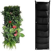 EXQULEG Vertical Jardinera Planter Bolsa, Fieltro Tela Crecer Bolsas de Montaje en Pared macetas Balcón jardín (7 Tasche, Black)
