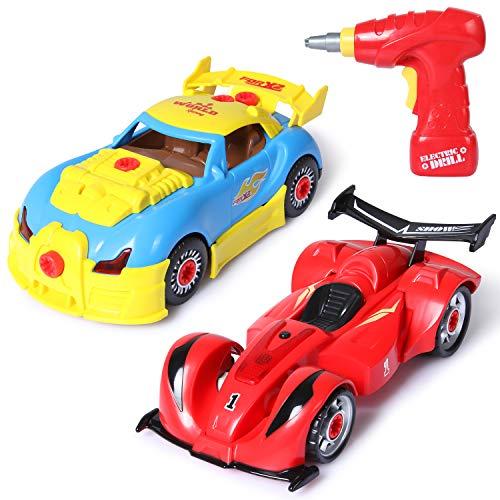SGILE 52 STK. Montage Spielzeug Auto Set, 4 in 1 BAU- und Konstruktionsspielzeug Set für Kinder, Rennwagen Spielzeugauto mit Lichter und Musik, BAU Spielzeug mit Werkzeug Bohrer Kindergeschenk