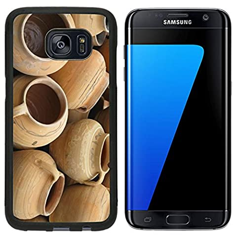 MSD Premium Samsung Galaxy S7 Edge Aluminum Backplate Bumper Snap Case Red clay pottery ceramic vases abstract background Image ID 24527142