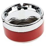 L'Miracle Home Tapa de Acero Inoxidable Plateada con Tapa giratoria para Fumar, cenicero, Rojo