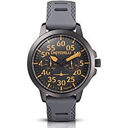 Chotovelli Aviator Men's Watch Multifunction Analogue display Army Silicone Strap 33.15