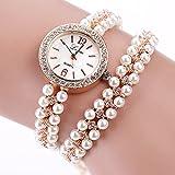 Frauen Damen Armbanduhr, 4 Farben-Legierungs Faux Perlen Bügel Armband Rhinestone runde Vorwahlknopf Quarz Bewegungs Armbanduhr(A)