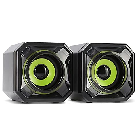 WESDAR PC Speakers Computer 3.5mm Stereo Speakers Set With Audio Jack USB Powered for Mac iMac Gaming PC Laptop Desktop Notebook Computer Tablet, Pack of 2, Black and Green,