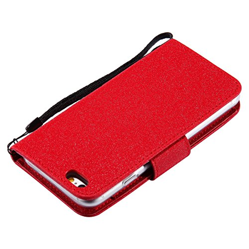 iPhone 6 Plus/iPhone 6s Plus (5.5) Custodia Cover, EUWLY Portafoglio Custodia Premium PU Leahter Protettiva Cover Case Per iPhone 6 Plus/iPhone 6s Plus (5.5), Goffratura Fiore Farfalla Modello PU Pe Rosso
