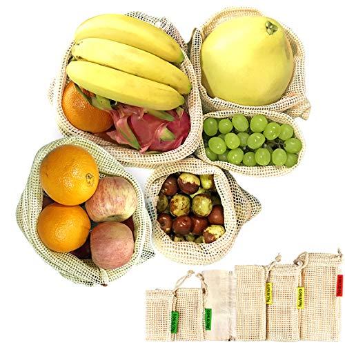 6er Set Obst-und Gemüsebeutel aus Bio-Baumwolle, Reusable Produce Bags, Eco-Friendly Einkaufsnetz Baumwollbeutel Brotbeutel, für Lebensmitteleinkauf und Lagerung, Hand-Made Doppelt genäht Waschbar