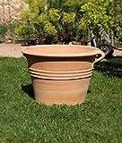 Kreta Keramik frostfestes Pflanzgefäß aus echtem Terracotta, 40 cm, Pflanzkübel, zum bepflanzen Garten Deko Terrasse