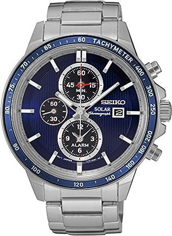 Seiko - SSC431P1 - Solar - Montre Homme - Automatique Chronographe - Cadran Bleu - Bracelet Acier Gris