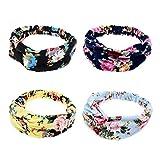 Ever Fairy 4Frauen Floral Print Baumwolle Headbands für Sport oder Alltag