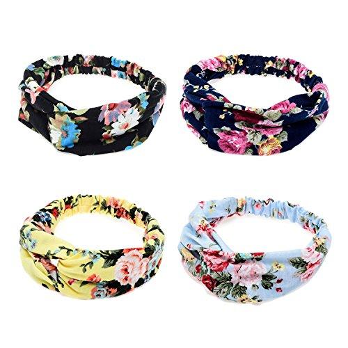 Ever Fairy® 4Frauen Floral Print Baumwolle Headbands für Sport oder Alltag