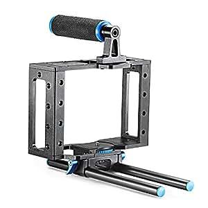 Neewer Aluminium Appareil Photo Cage Kit Avec 15mm Barre Tige Pour Nikon Pentax Canon 5D Mark II 7D 60D à Microphones Support, Moniteur, Enregistreurs Sonores, Trépied, Follow-Focus