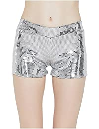 Tiny Time Damen Sequin Shine Glitter Shorts Paillette verschönert Party  Kurze Hose 4b56bf9dbd