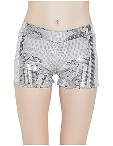 Tiny Time Damen Sequin Shine Glitter Shorts Paillette verschönert Party Kurze Hose (M, Silber)