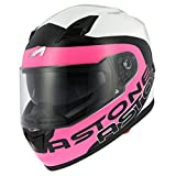 Astone Helmets Casque Moto Intégral GT900, Rose/Blanc, Taille S