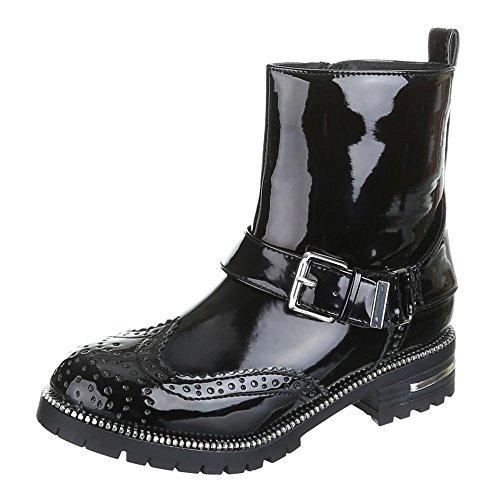 Damen Schuhe, DIA, BOOTS Schwarz Silber DOTTI
