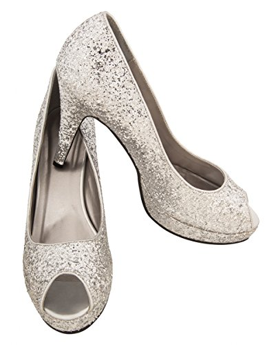Horror-Shop Silberne Glitter Pumps für sexy Disco Party Kostüme S
