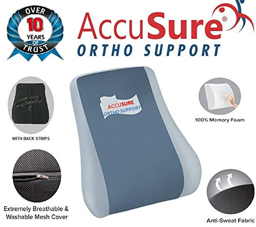 ACCUSURE Backrest Pillow for Office Chairs Memory Foam for Pain Relief & Lumbar Support Back Cushion Effective in Back and Neck Pain