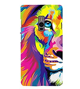 PrintVisa Animated Lion 3D Hard Polycarbonate Designer Back Case Cover for OnePlus 2 :: OnePlus Two