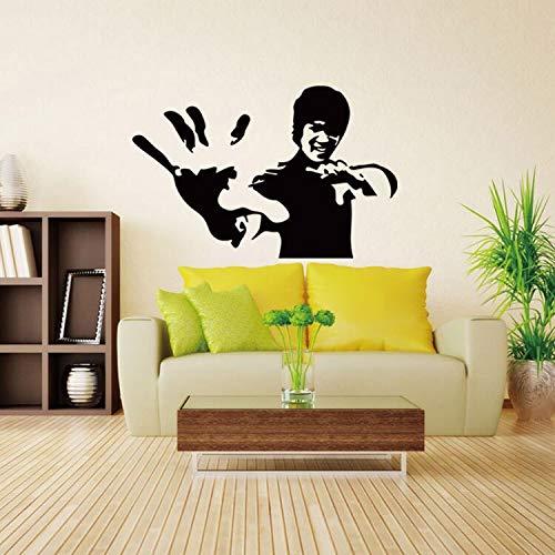 Bruce Lee kung fu vinyl wandtattoo wohnkultur wohnzimmer schlafzimmer schwarz diy kunst wandbild entfernbare wandaufkleber 58 * 89 cm - Baldachin Möbel Schlafzimmer