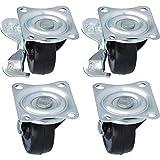 com-four® 4 Petites roulettes avec et sans Frein, roulettes de Transport à roulement à Billes (04 pièces - 40 mm 20 kg)