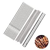 ROBAKO Spiedini per Barbecue in Acciaio Inossidabile 100PCS x 35cm 60 Spiedini per Barbecue Rotondi e 40 Spiedini per Barbecue Piatti